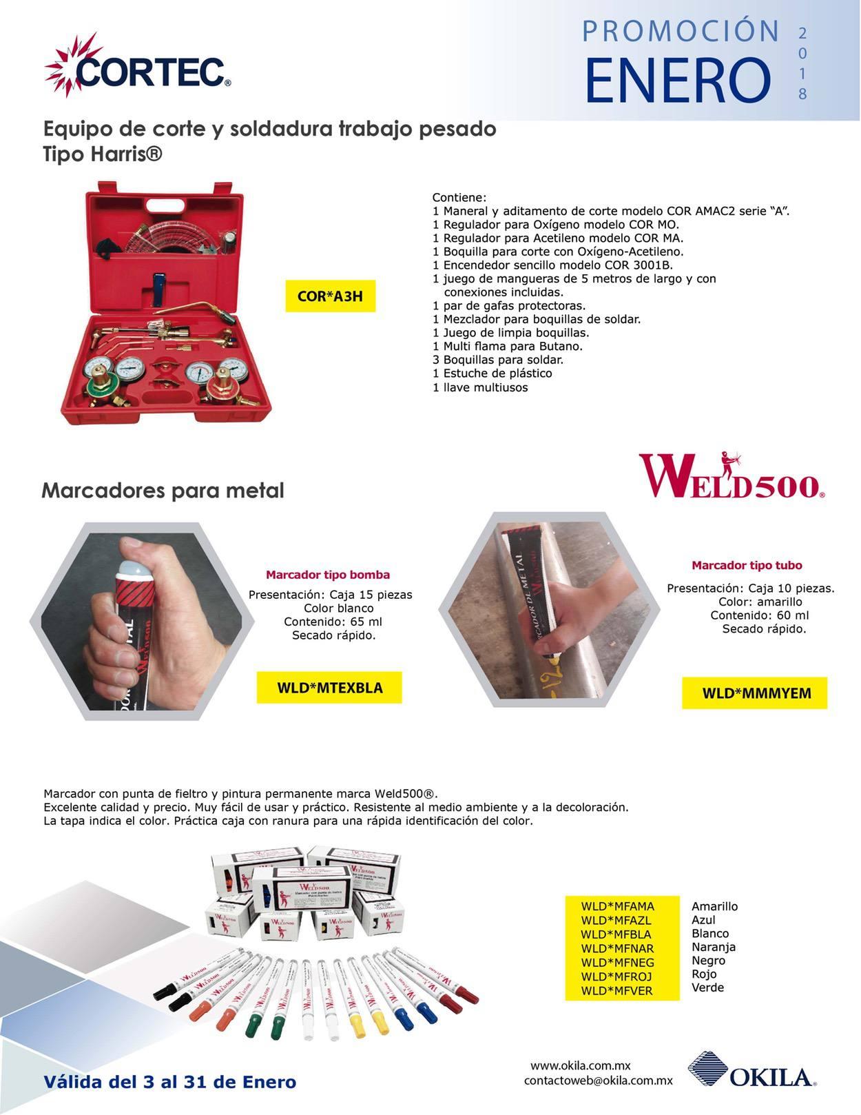 Productos de soldar como marcadores y equipo de corte